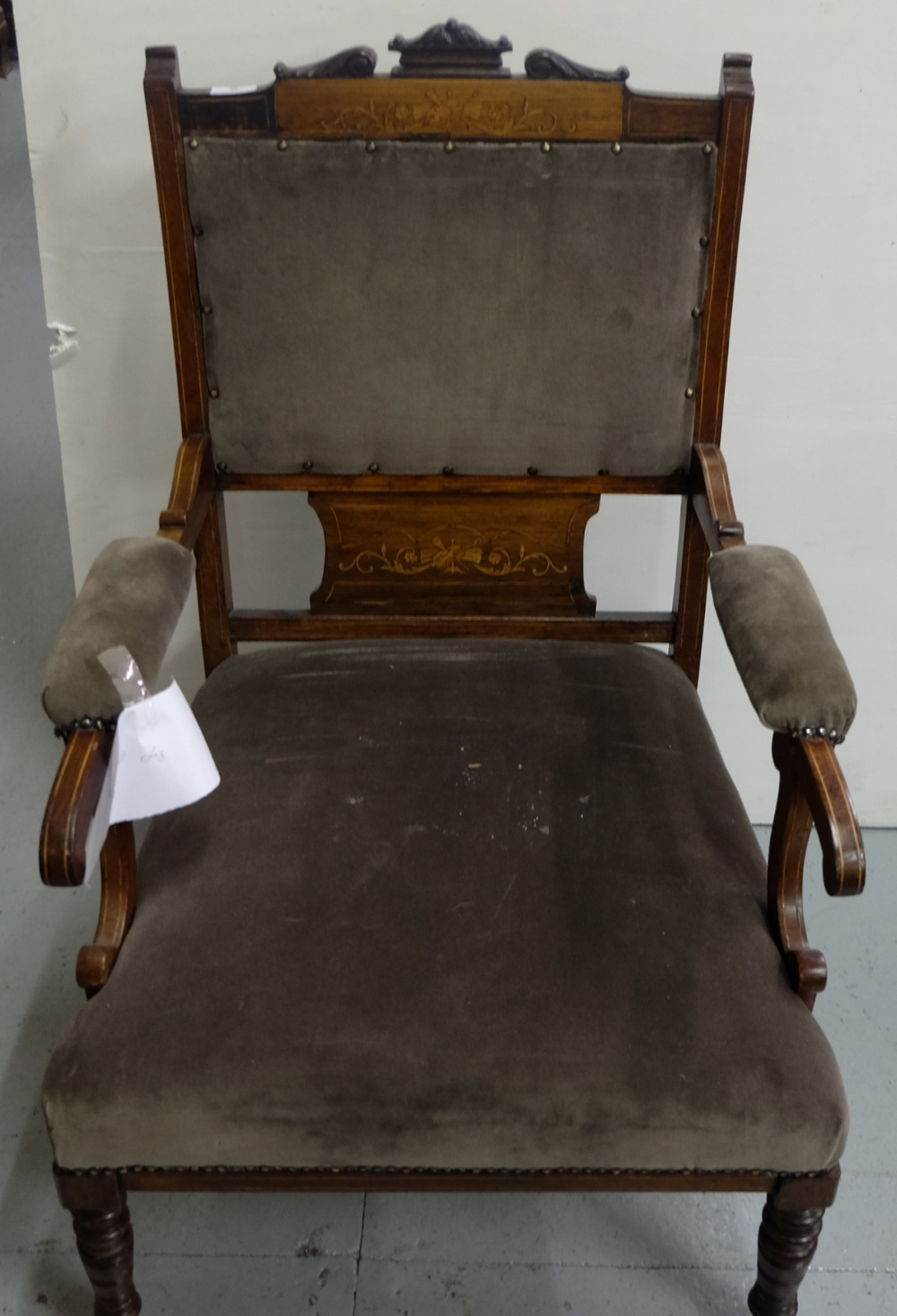 Lot 25 - Edwardian Inlaid Armchair (damage to right leg), grey fabric covered padded back and seat