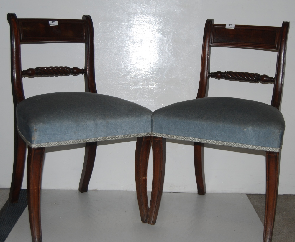 Lot 27 - Matching Pair of Mahogany Dining Chairs with blue padded seats, sabre front legs