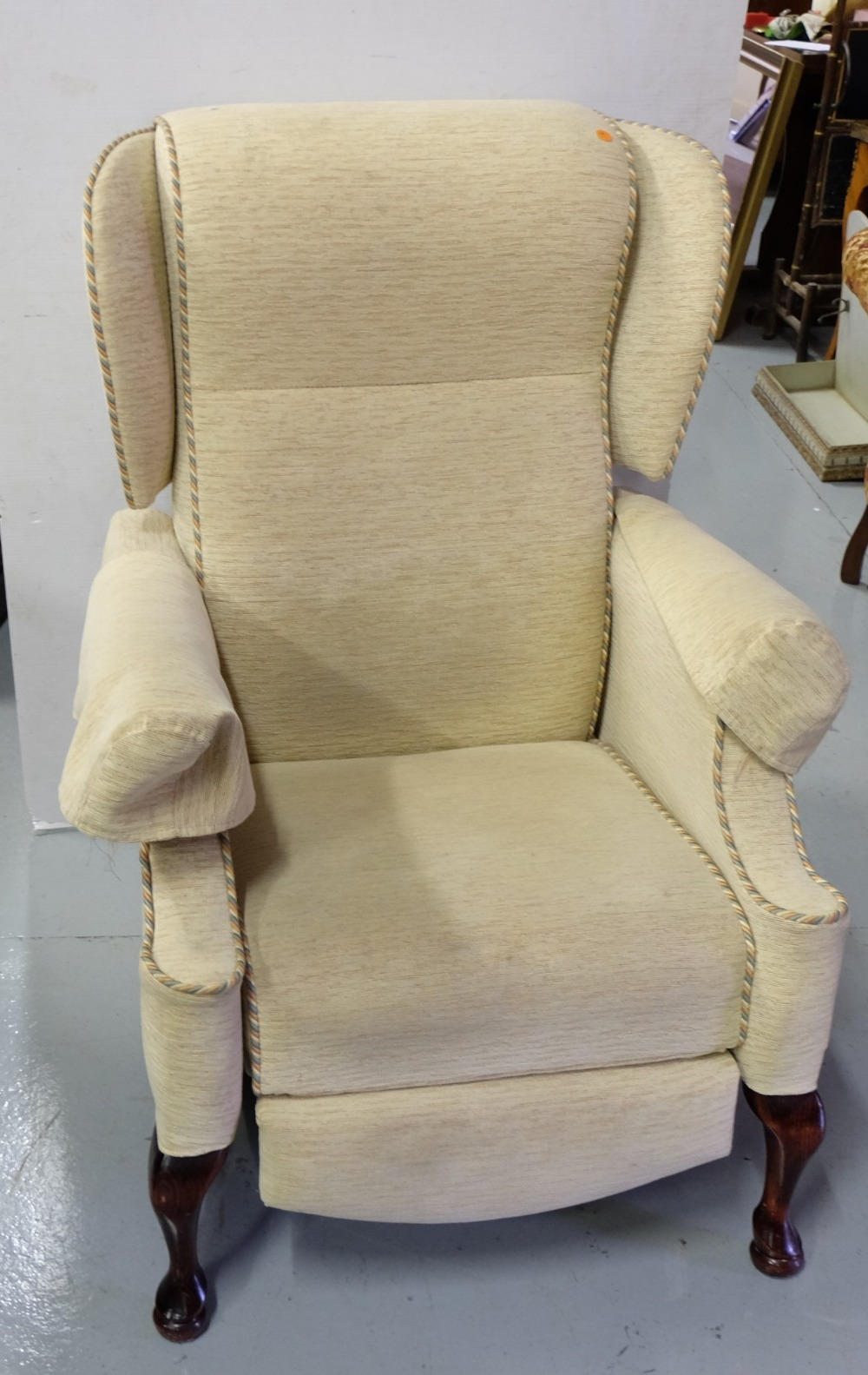 "Lot 4 - Modern Reclining Armchair ""The Back Shop"", beige fabric"