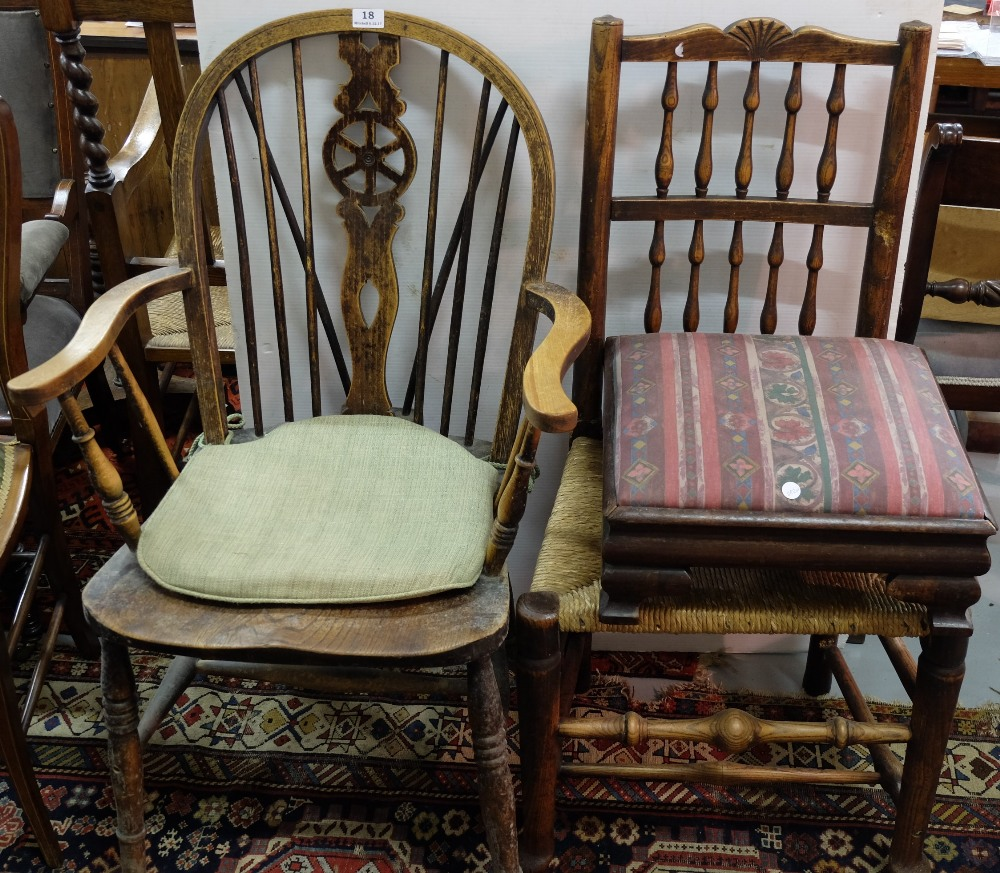 Lot 18 - 2 Oak Chairs incl. 1 wheelback carver, 1 rush seated kitchen chair & a footstool (3)