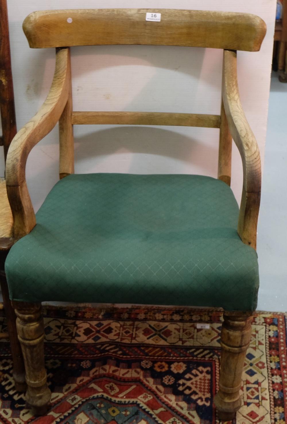 Lot 16 - WMIV Oak Carver Armchair, green seat
