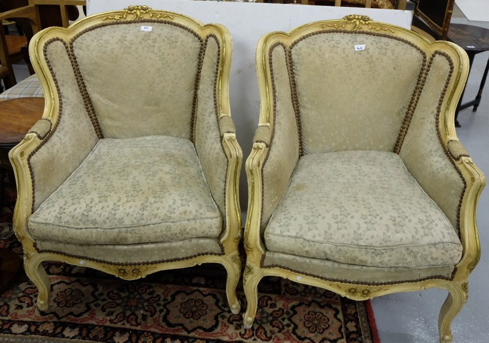 Lot 40 - Matching Pair of French Cream Painted Armchairs, with worn green silk covered backs and cushions