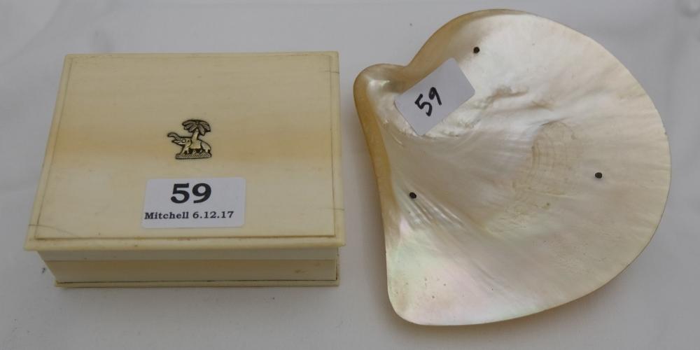 Lot 59 - Ivory Trinket Box with elephant motif & seashell trinket dish on 3 plated turned feet (2)