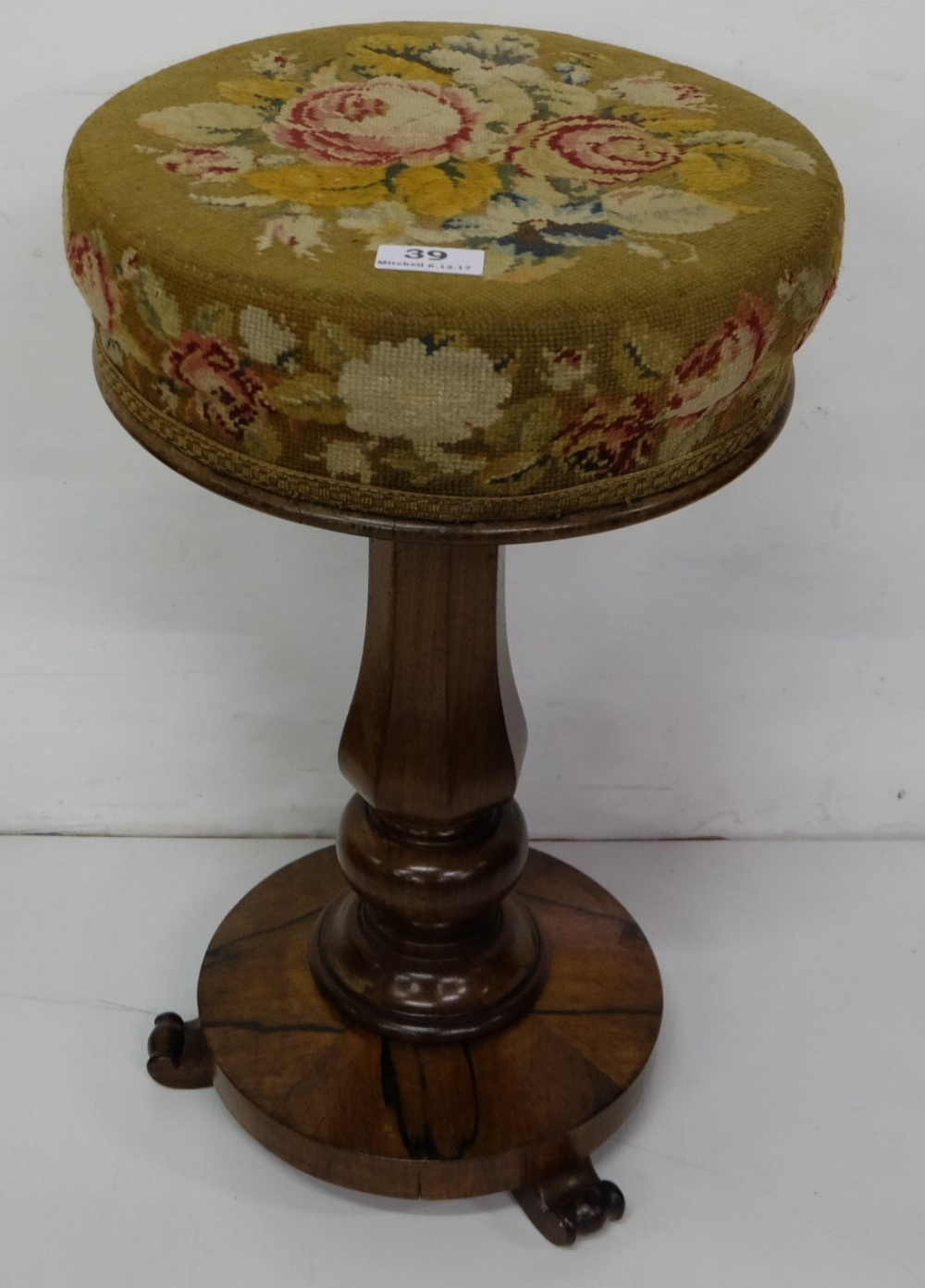 Lot 39 - WMIV Rosewood Piano Stool, with floral needlepoint covered seat