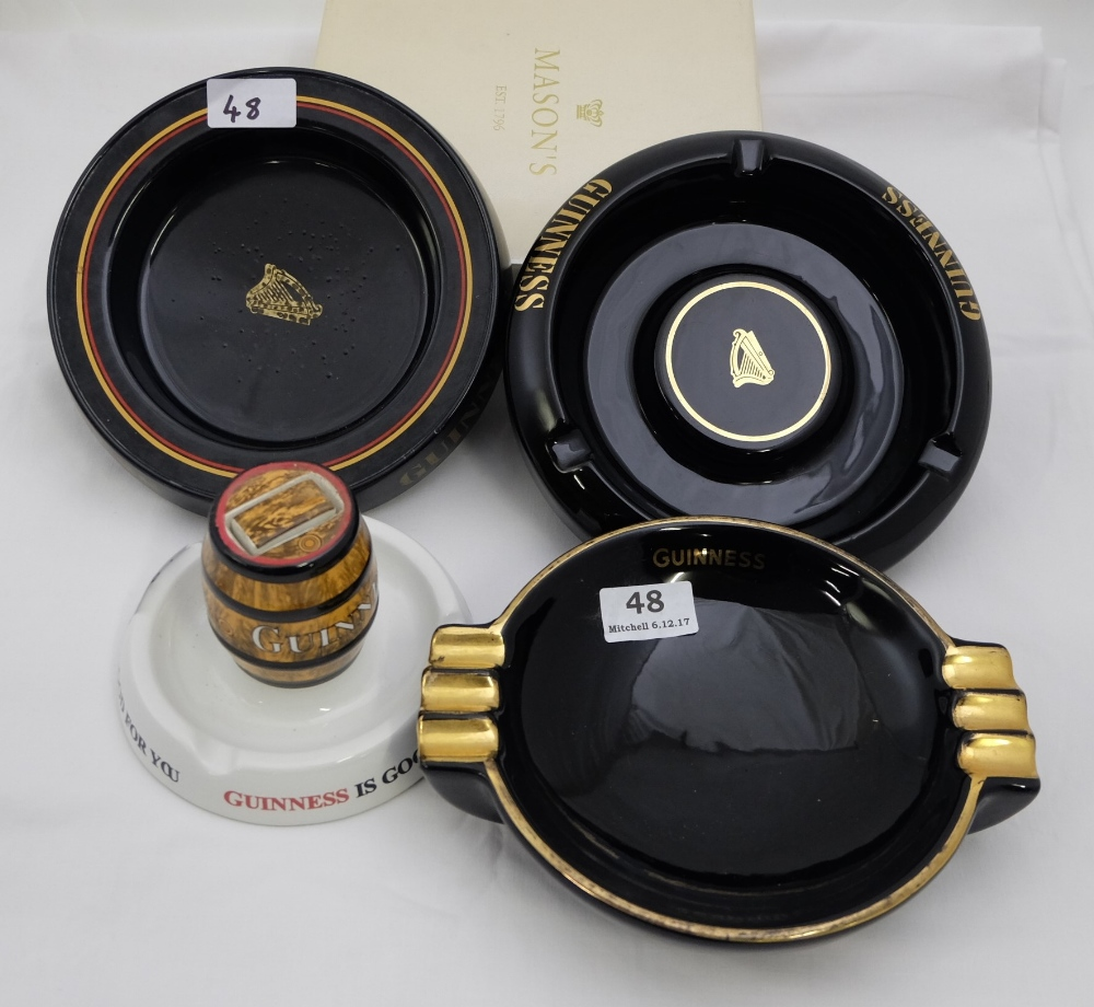 Lot 48 - 4 Guinness Ashtrays, incl. 1 with barrel (4)
