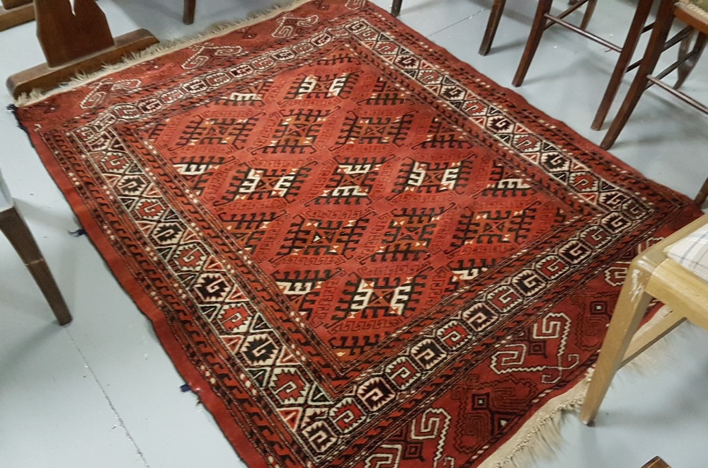 Lot 28 - 2 x Rugs, Red ground, fringed, 1.28x1.68 and beige ground with red and navy border, 2.2x1.12 (2)