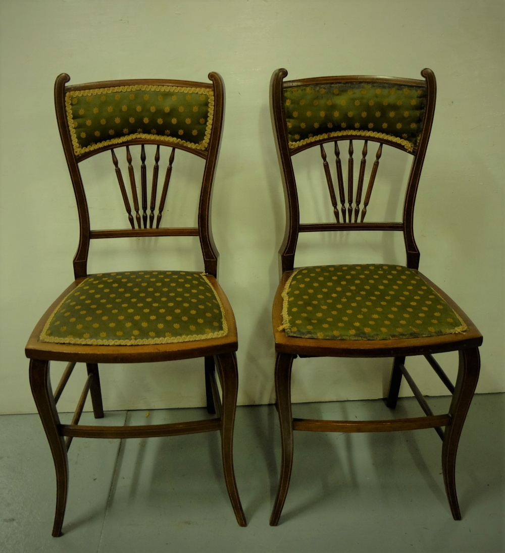 Lot 19 - Matching Pair of Edw. Walnut Bedroom Chairs, green and gold fabric