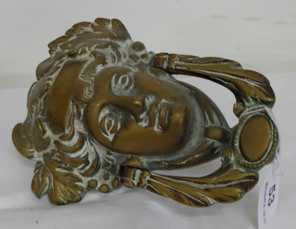 "Lot 53 - Bronze Door Knocker ""Anna Livia"", 7""h"