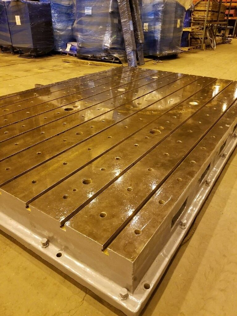 Lot 36A - T- Slotted Floor Plate 16FT x 10FT x 14IN - Levelers - Boring Mill CNC Lathe