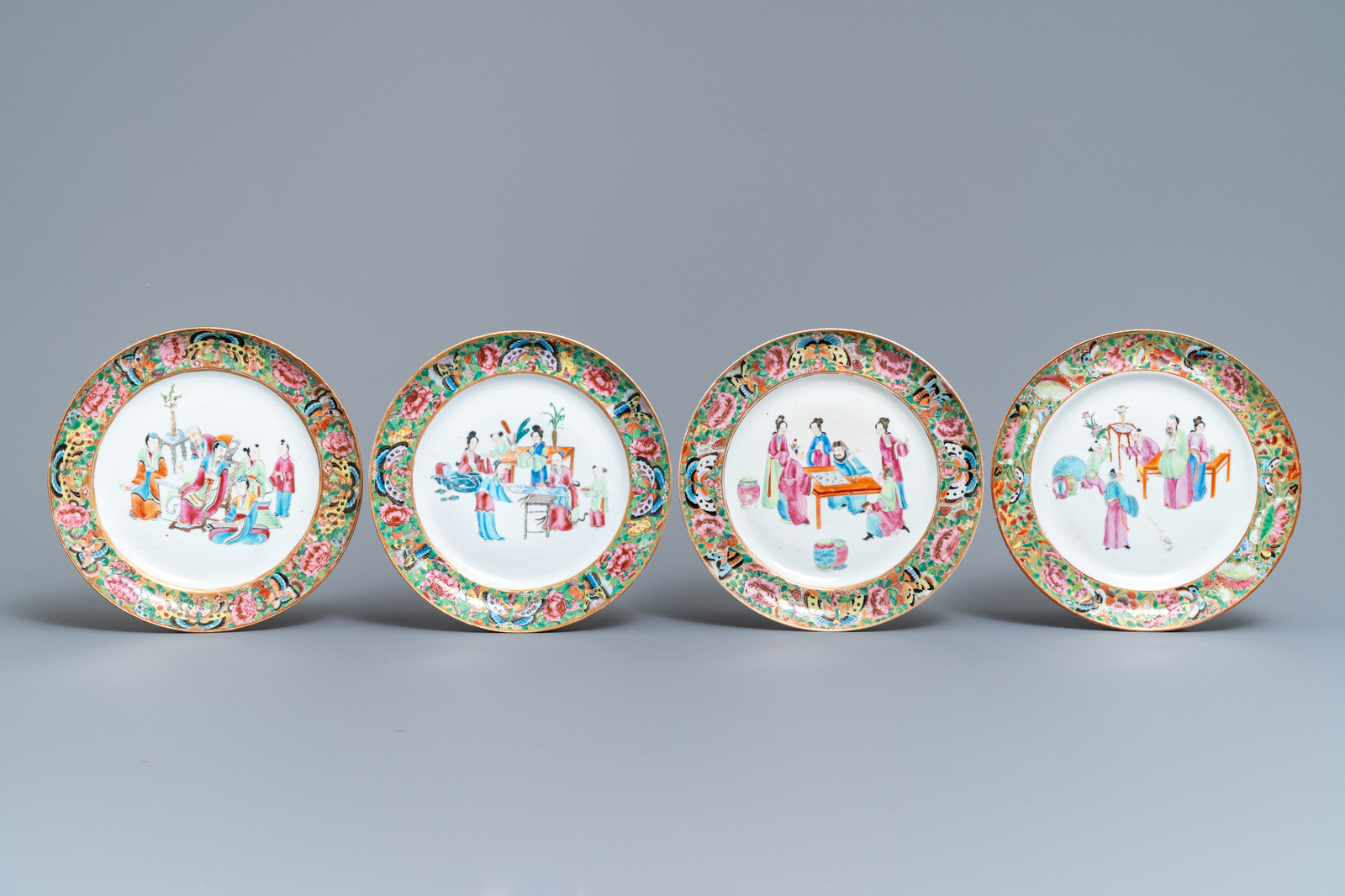 Lot 51 - A 16-piece Chinese Canton famille rose service, 19th C.