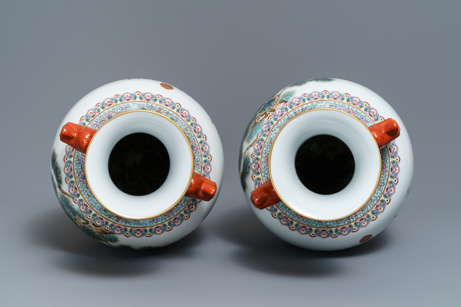 Lot 19 - A pair of Chinese famille rose 'peacock' vases, Qianlong mark, Republic, 20th C.