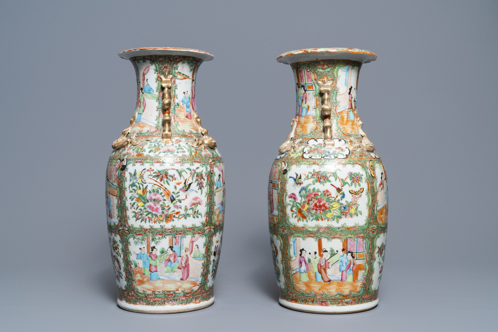 Lot 53 - Three Chinese Canton famille rose vases, 19th C.