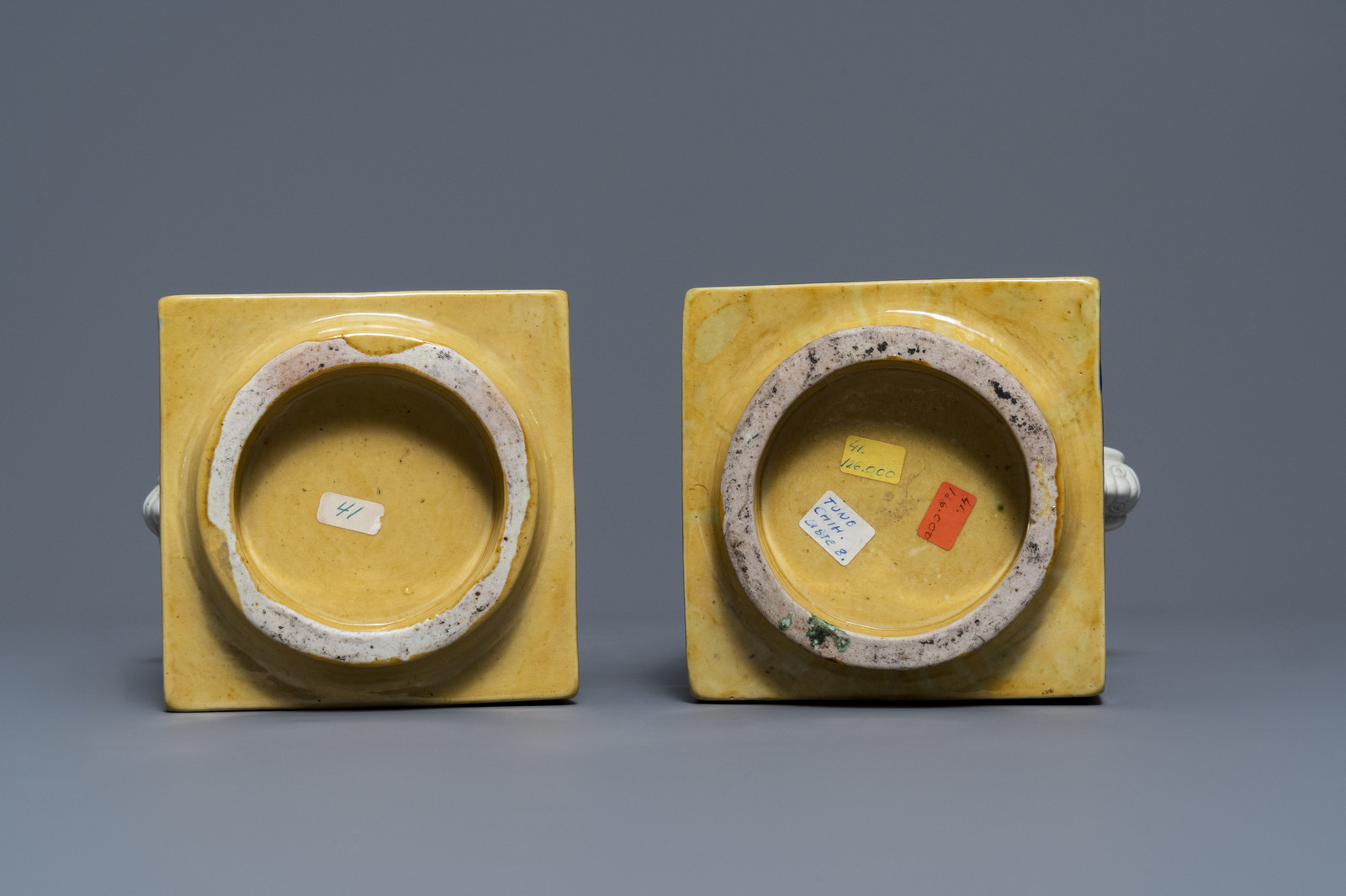 A Chinese celadon jardinire and a pair of relief-decorated cong vases, 19/20th C. - Image 13 of 13
