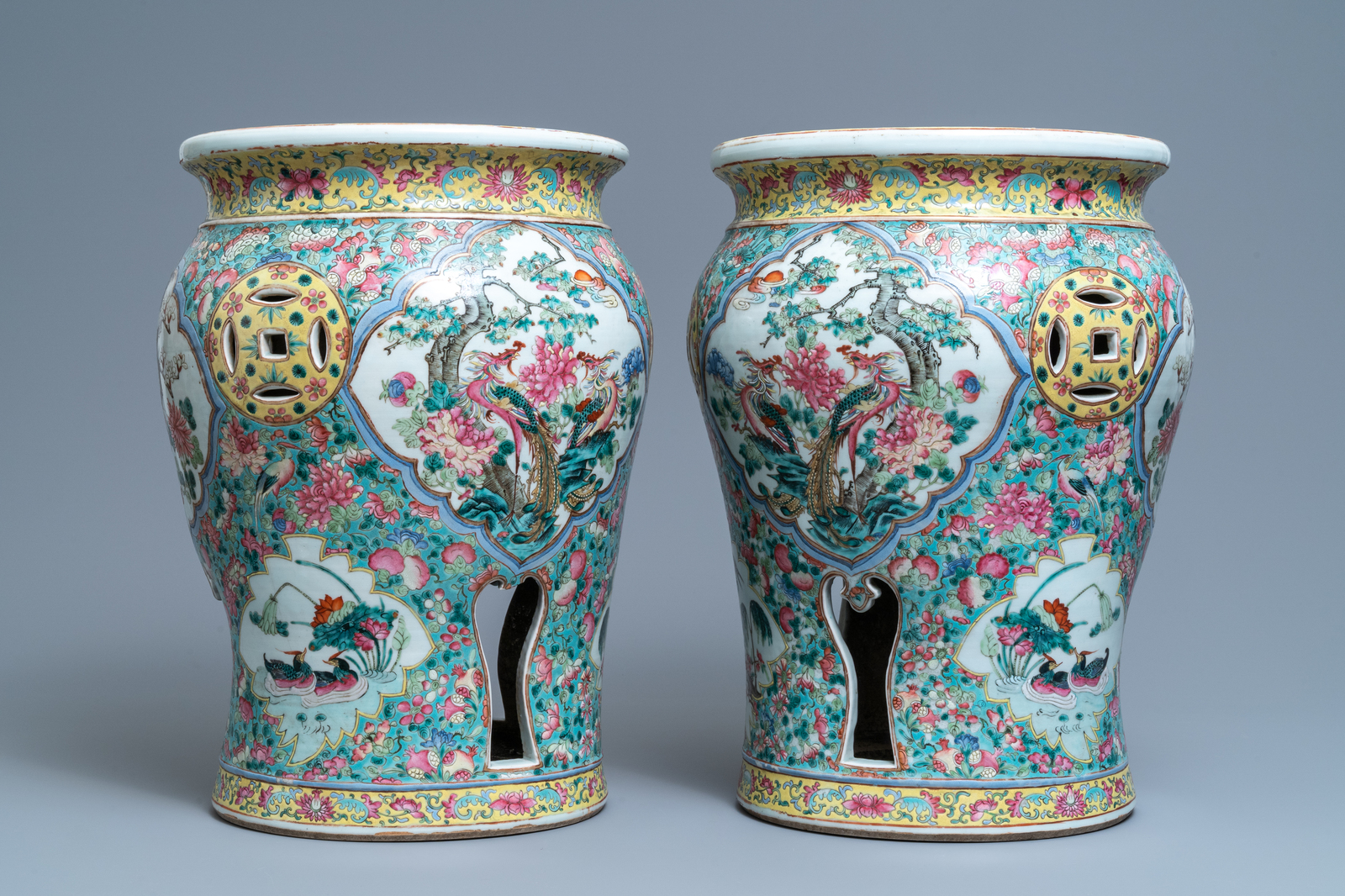 Lot 59 - A pair of reticulated Chinese famille rose garden seats, 19th C.