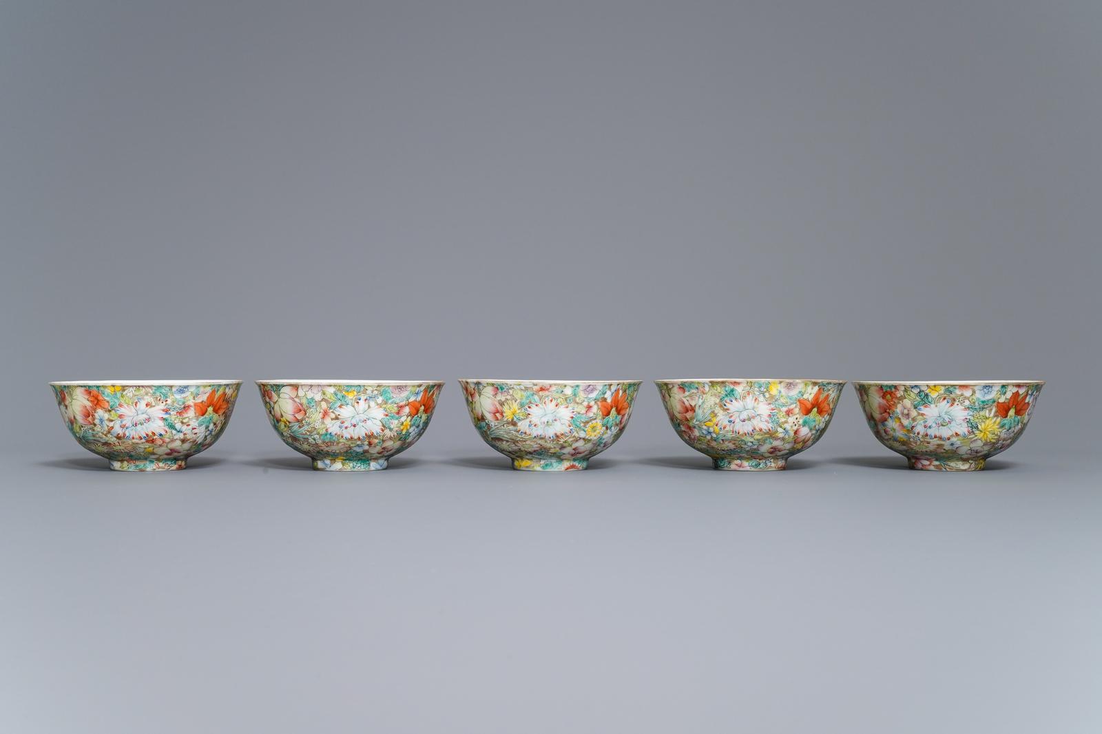 Lot 2 - Five Chinese famille rose 'millefleurs' bowls, Qianlong mark, Republic, 20th C.