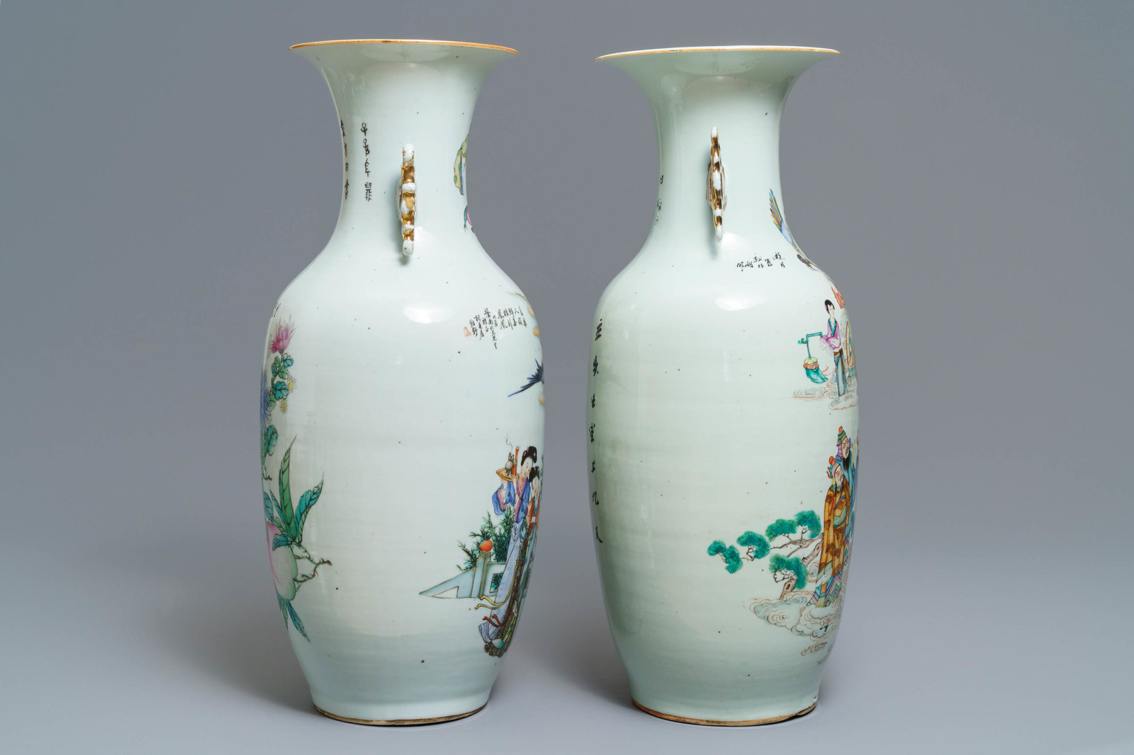 Lot 16 - Two Chinese famille rose vases with figural design, 19/20th C.