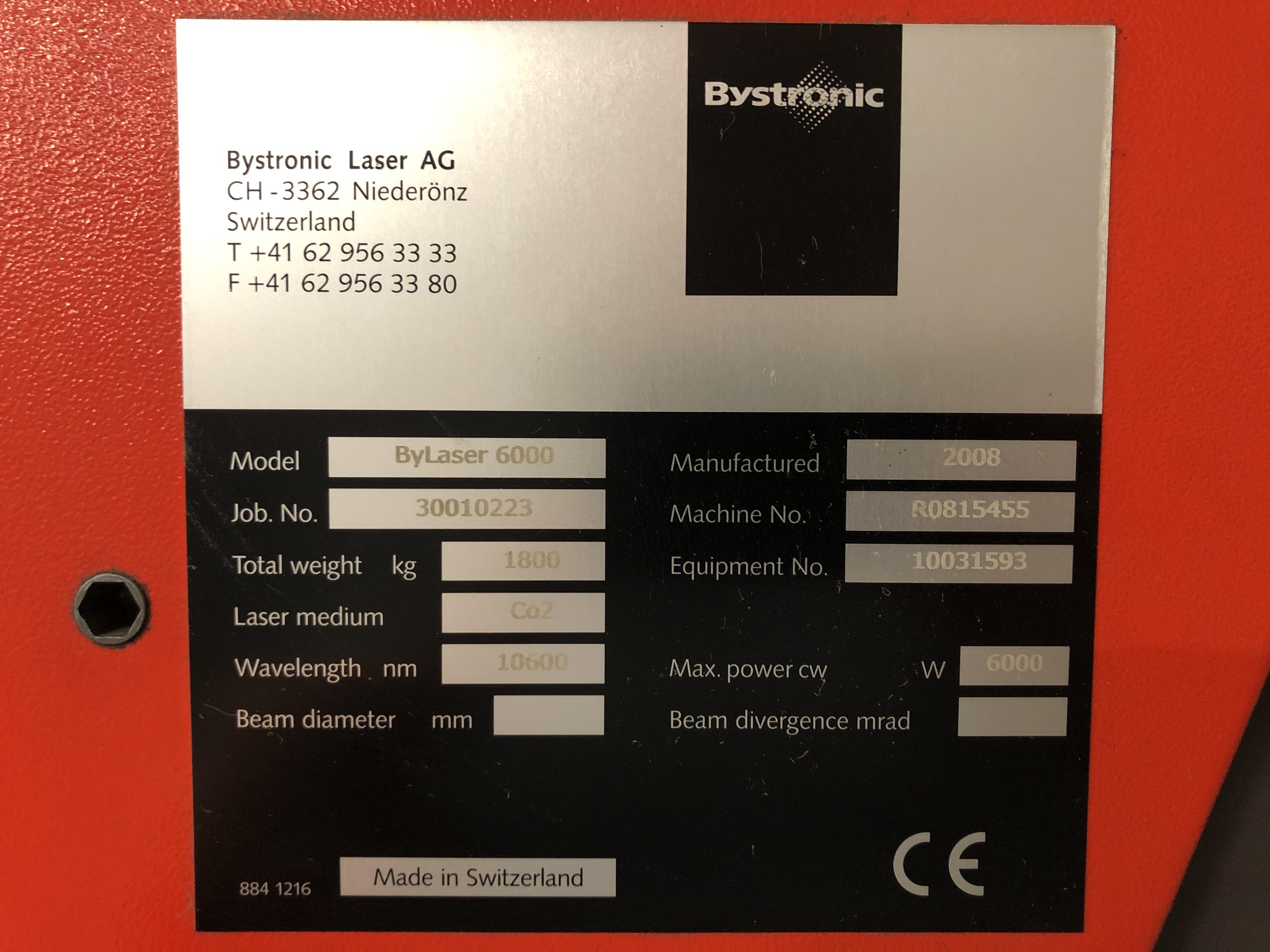 Lot 1 - BYSTRONIC (2008) BYSTAR 3015, 6000 WATT CO2 CNC LASER