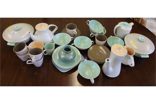 A collection of vintage Poole Pottery tableware in twin tone colours ice green/ mushroom peach  sc 1 st  The Saleroom & A collection of vintage Poole Pottery tableware in twin tone colours ...