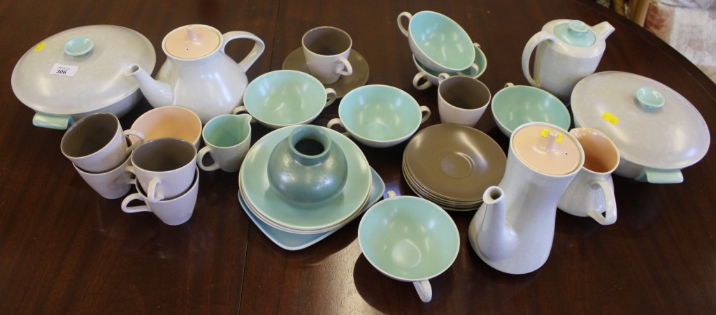 Lot 306 - A collection of vintage Poole Pottery tableware in twin tone colours ice & A collection of vintage Poole Pottery tableware in twin tone colours ...