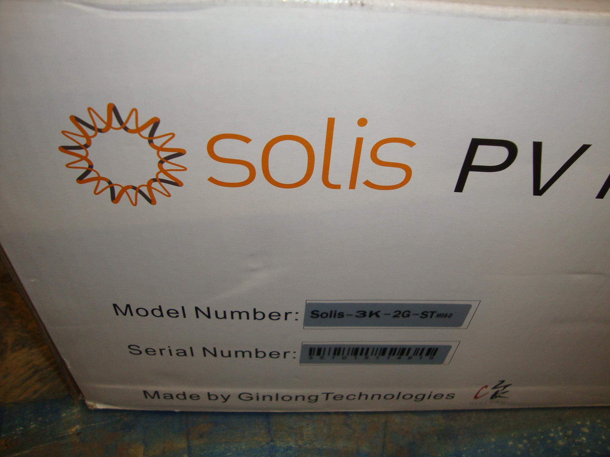 Solis PV inverter model Solis-3K2G-ST PLEASE NOTE all successful