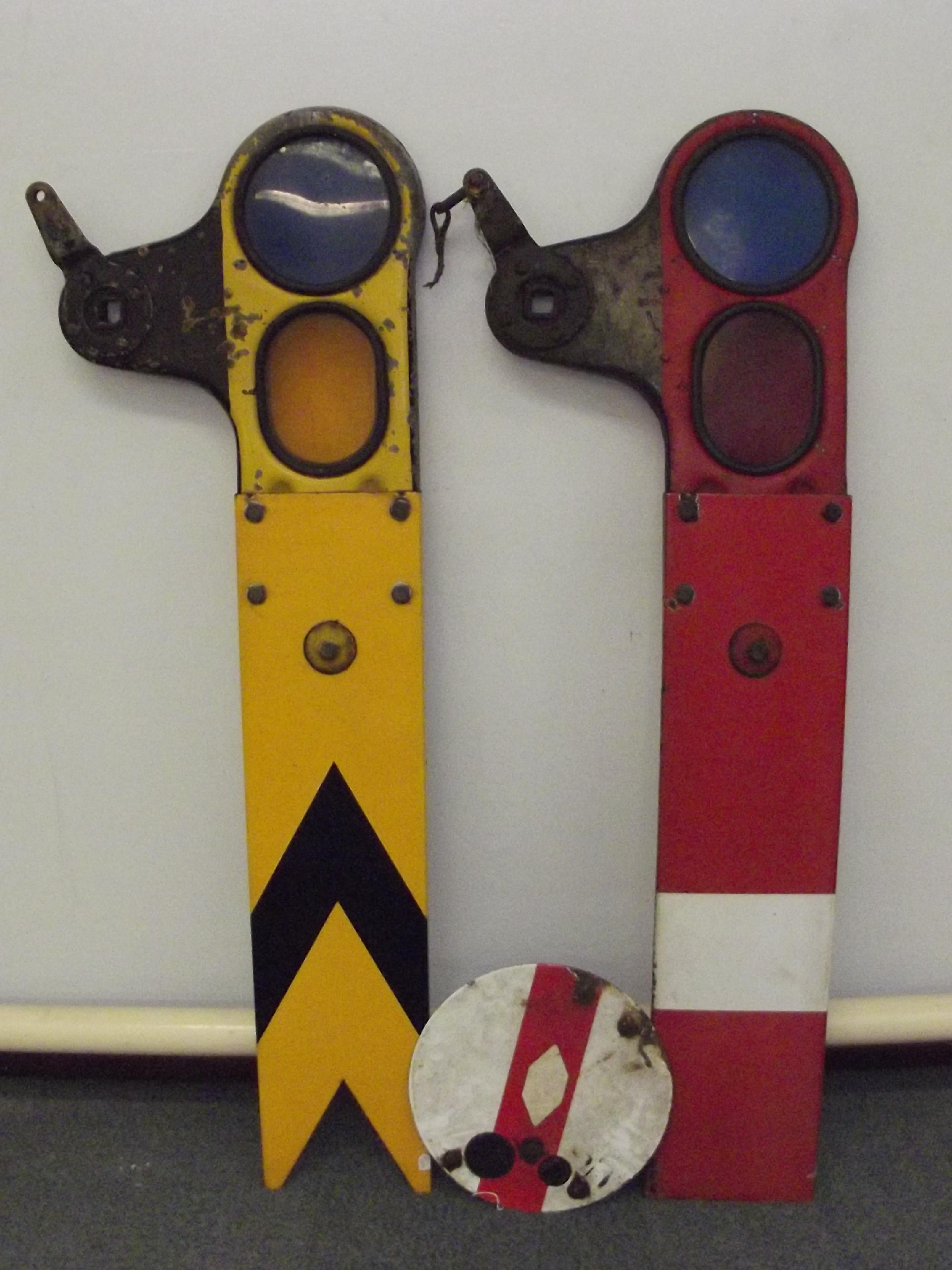 British rail (BR) railway semaphore signals, yellow distance signal