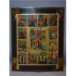 A Russian icon of The Descent into Hell, The Resurrection and The Twelve Feasts, tempera on wood