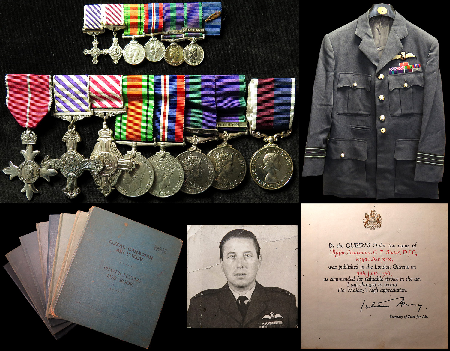Lot 690 - RAF group mounted as worn - DFC QE2 dated 1958, AFC QE2 dated 1967, Defence Medal, War Medal, GSM