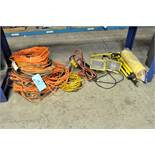 Lot-Extension Cords, Portable Work Light and Coil Air Hose Under (1) Bench, (Bench Not Included)