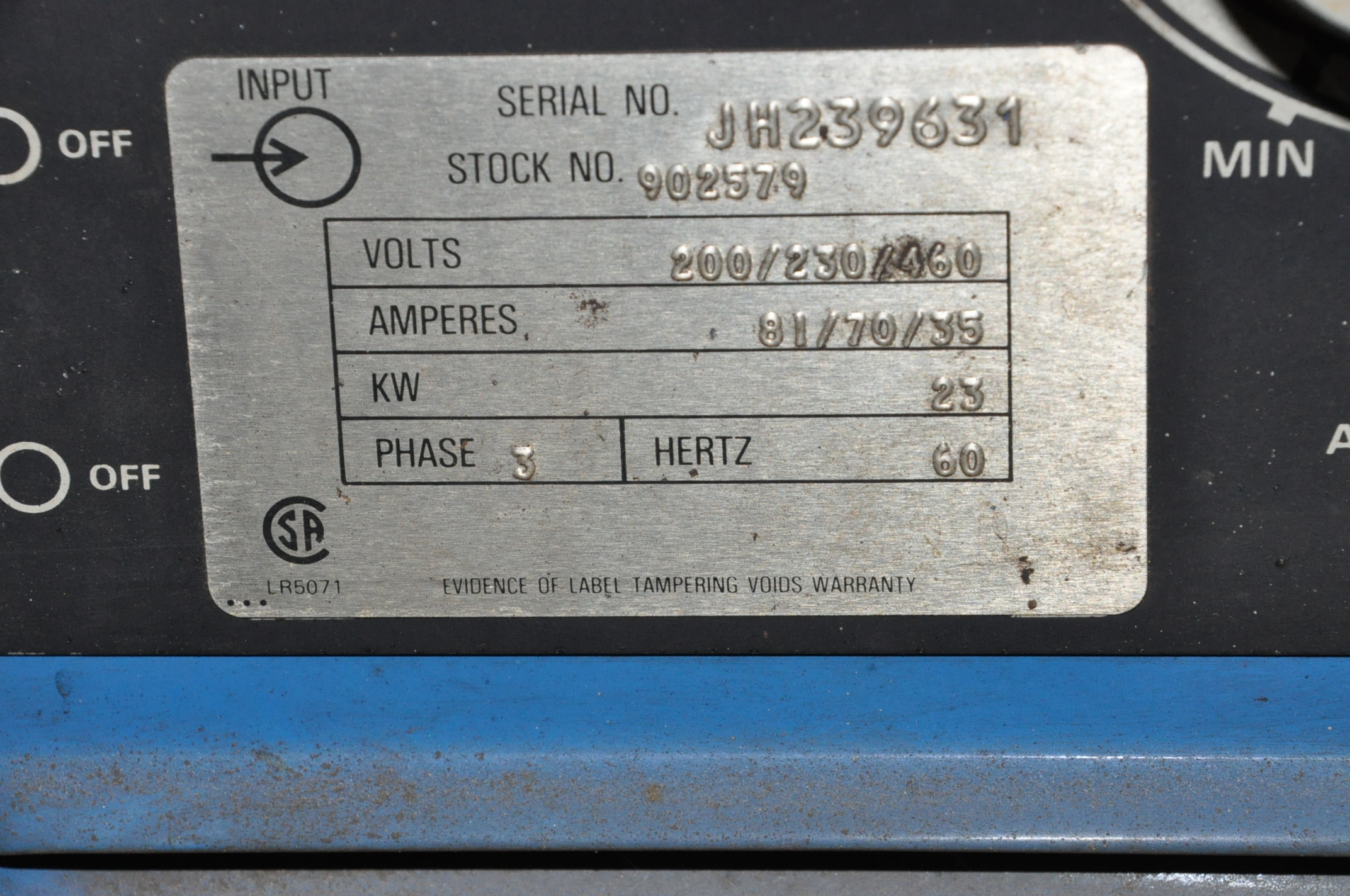 Miller Deltaweld 450, 450-Amp DC Arc Welding Power Source with Millermatic S-45E Wire Feeder - Image 3 of 3