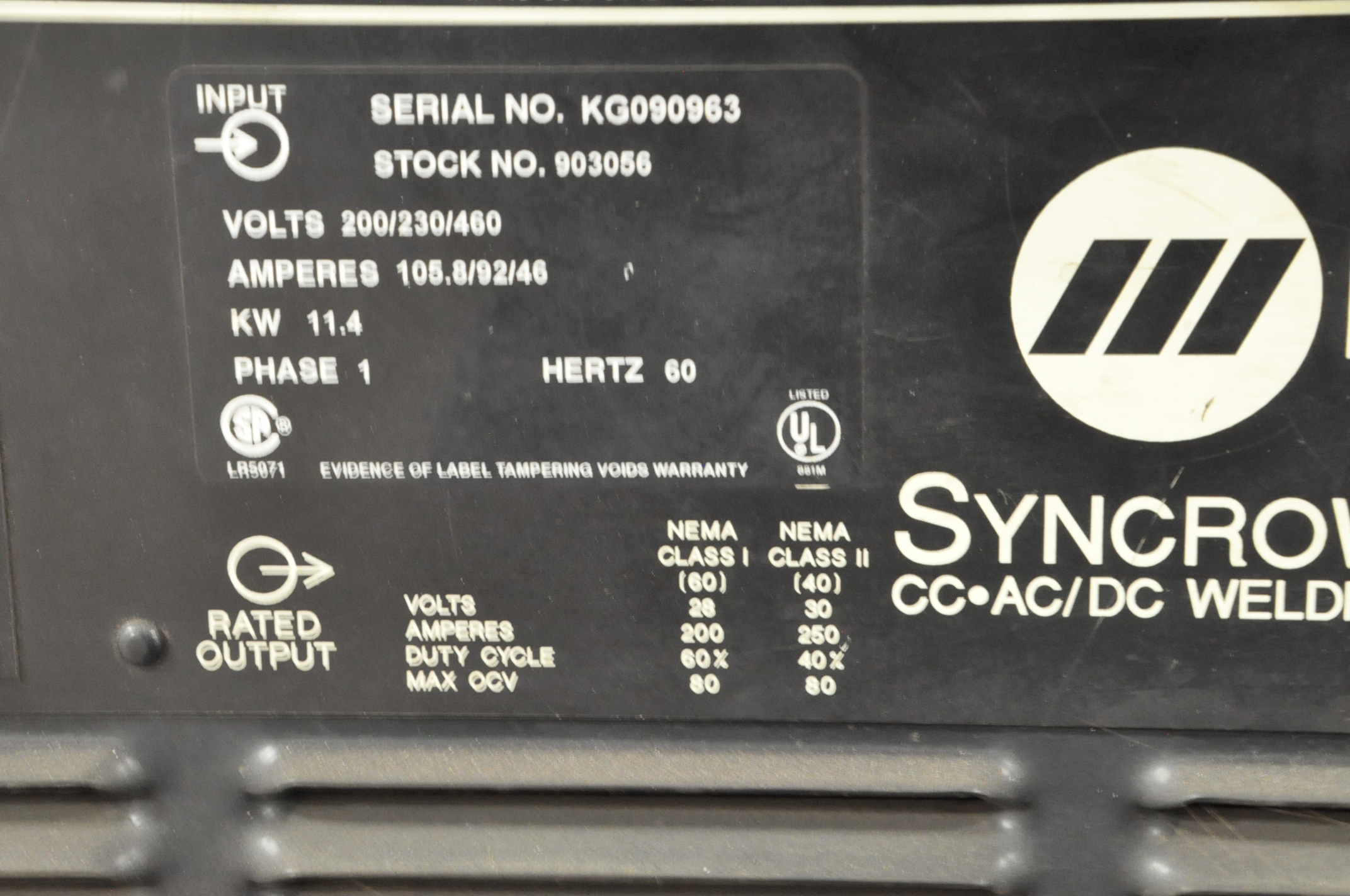 Miller Syncrowave 250, CC AC/DC Tig Welder, S/n KG090963 (1996), with Leads - Image 4 of 4