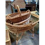 Wicker chest, crib and four baskets.