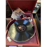 HMV model 102 portable wind up gramophone and another