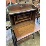 1930's oak bureau and bookcase beneath.