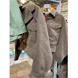 2 British Army battle dress tops, trousers, kit bag.