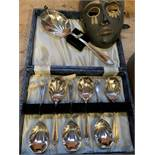 Brass coal bucket, brass mask and box of spoons.