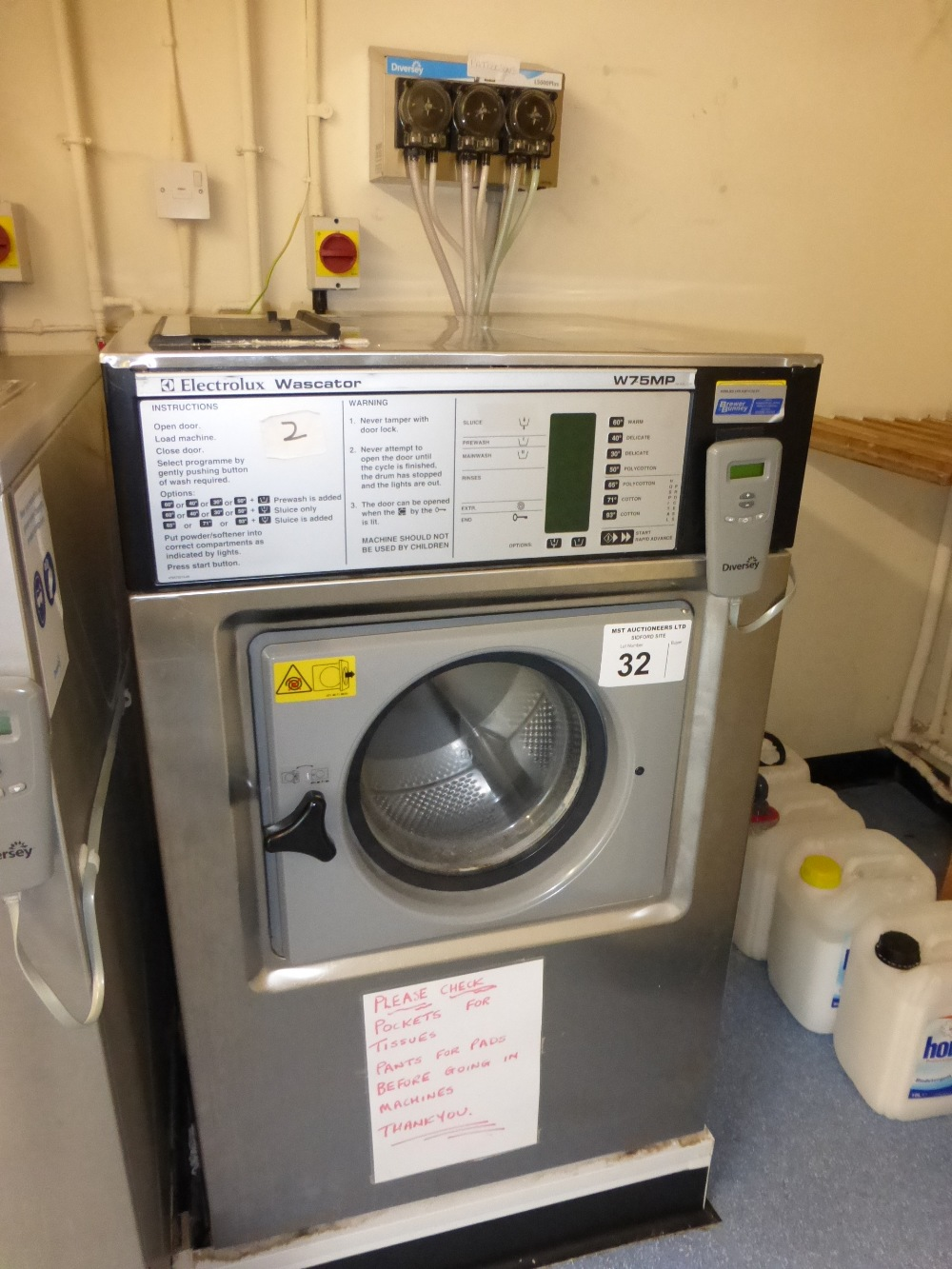 Lot 32 - An Electrolux Wascator W75MP 3 phase stainless steel commercial washing  machine serial number