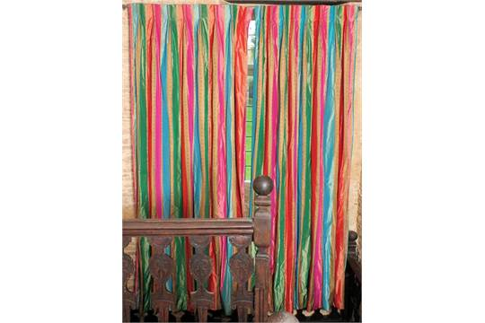 A pair of Liberty silkinterlined pinch pleat multi coloured ...