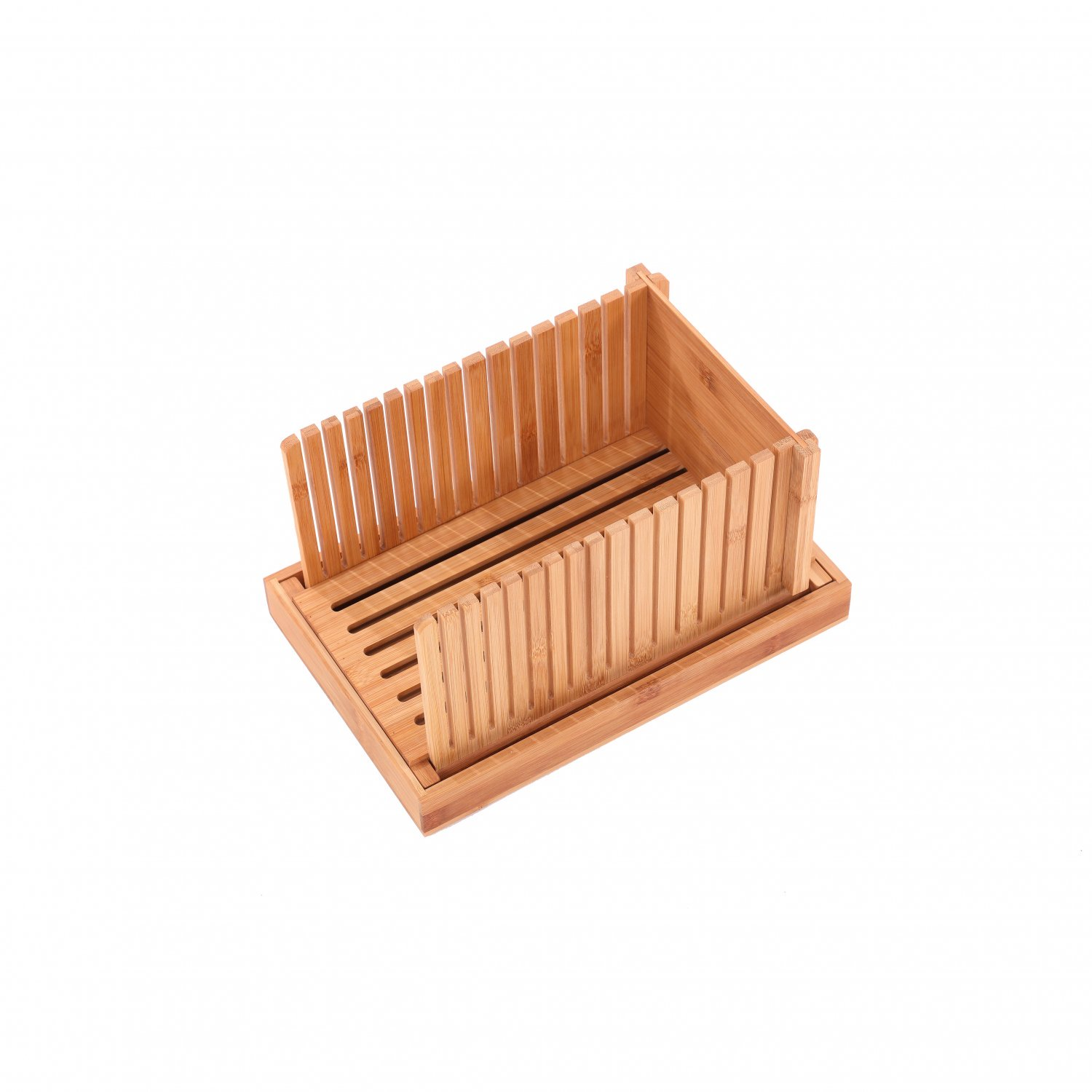 (RU26) Bamboo Wooden Bread Slicer Chopping Cutting Board with Crumb Catcher The bamboo bread...