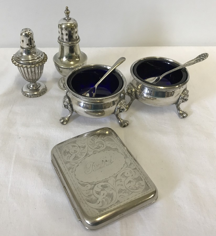 Lot 225 - 2 silver plate salts complete with blue liners and spoons.