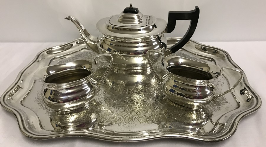 Lot 238 - A Viner's silver plated teapot, milk jug & sugar bowl on a silver plated tea tray.