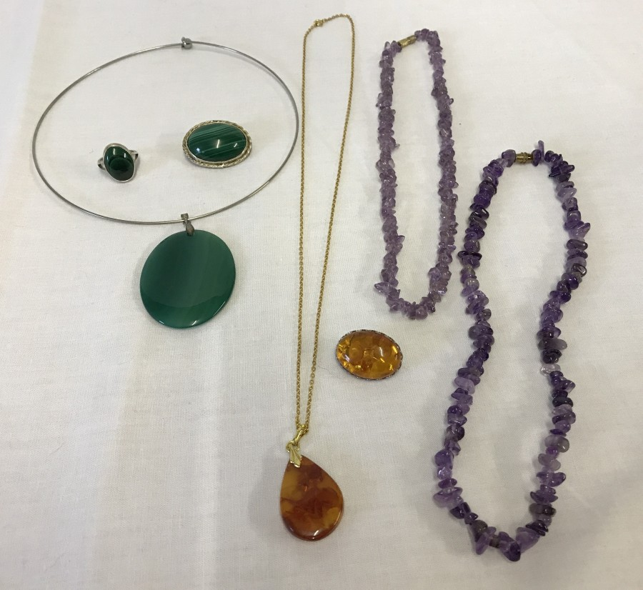 Lot 89 - A collection of natural stone jewellery.
