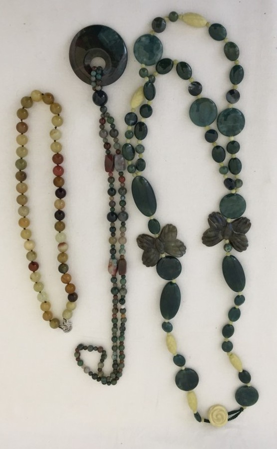 Lot 191 - 3 natural stone necklaces.