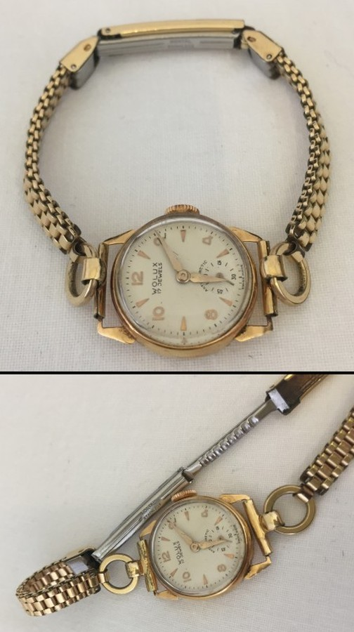 Lot 203 - A ladies 18ct gold wrist watch in working order.