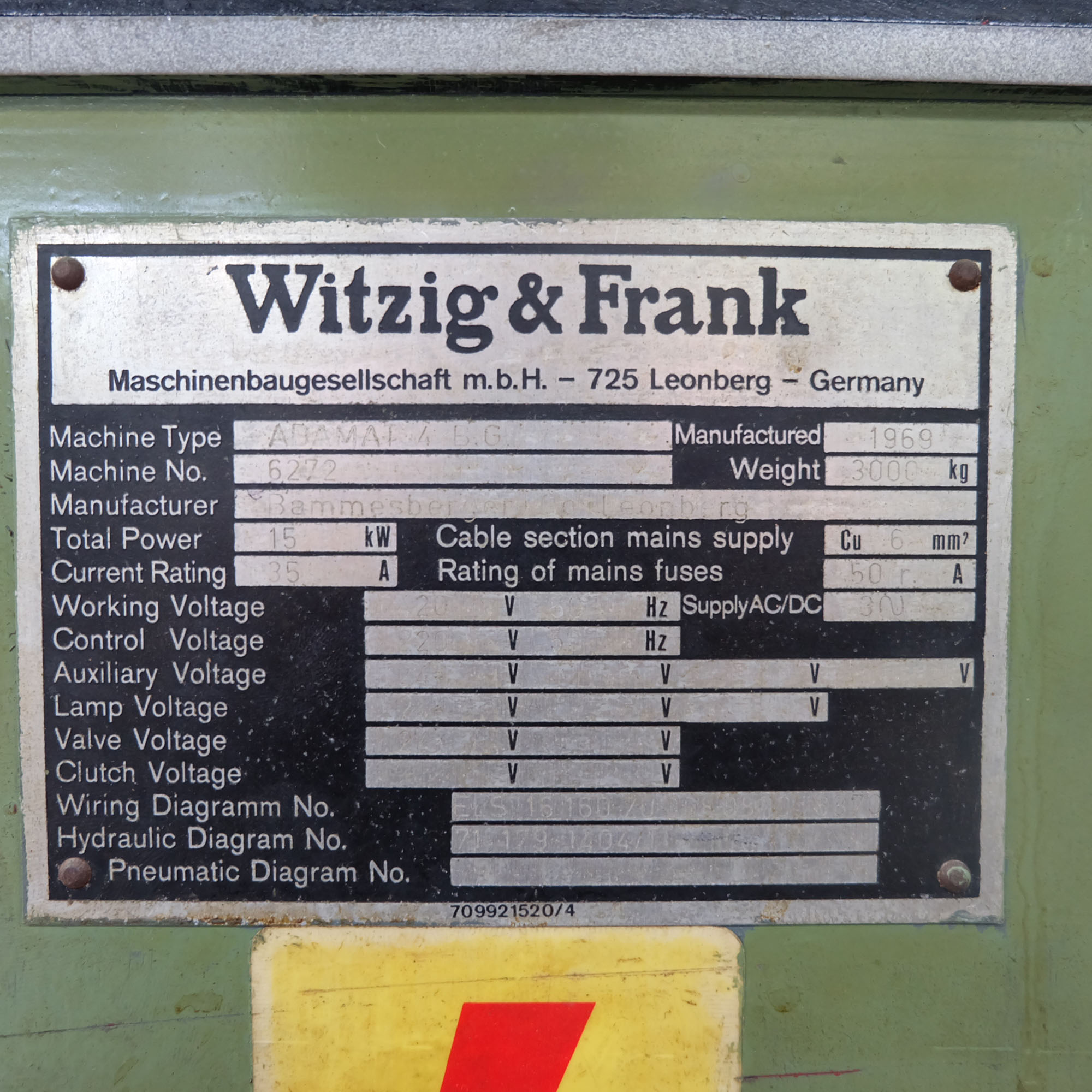 Witzig & Frank Model Adamat 4 B.G. Six Station Indexing Rotary Transfer Machine. - Image 12 of 13