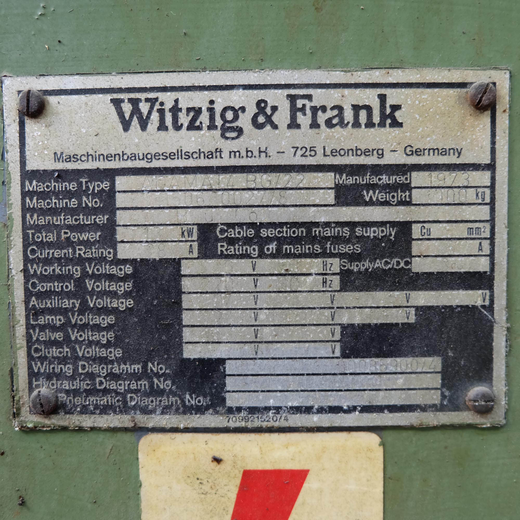 Witzig & Frank Model Adamat 4 BG/22. Six Station Indexing Rotary Transfer Machine. - Image 10 of 11