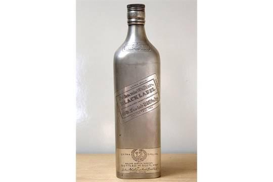 white metal johnnie walker black label 1 litre full size bottle.