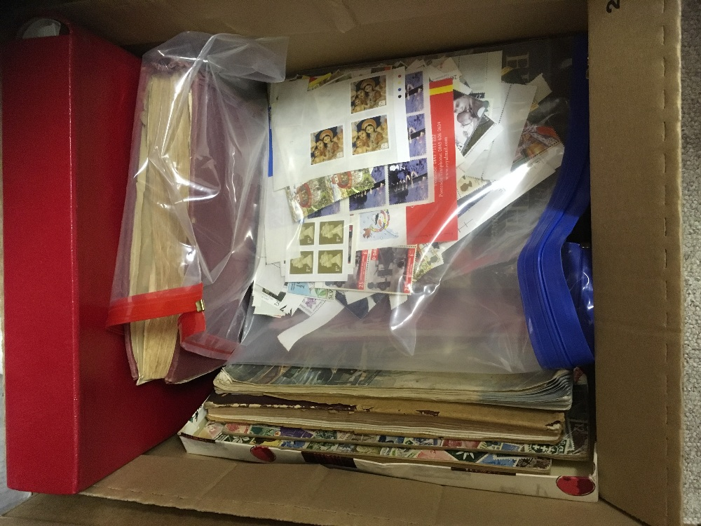 Lot 41 - STAMPS : Mixed World albums in 2 boxes with some GB First Day Covers,