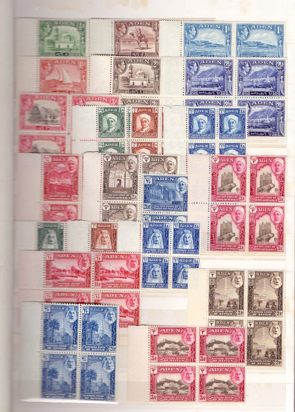 Lot 18 - STAMPS : BRITISH COMMONWEALTH, stockbook with U/M George VI issues mostly in blocks of four.