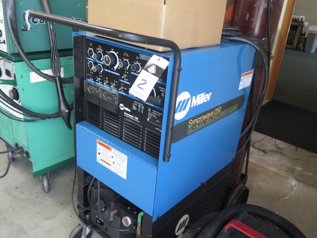 Lot 2 - Miller Syncrowave 250 CC-AC/DC Arc Welding Power Source s/n KH483472 w/ Cooler Cart, Tanks and