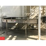 """50'+ S/S Frame Inclined Product Conveyor with 60"""" Wide Interlox Belt, 90° Turn and Air Blow Off"""